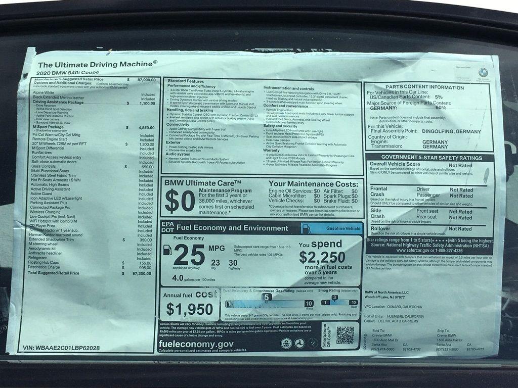 New 2020 BMW 8 Series 840i