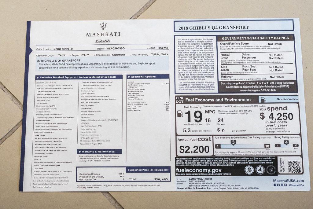 2018 Maserati Ghibli S Q4 GranSport 3.0L - 16969117 - 55