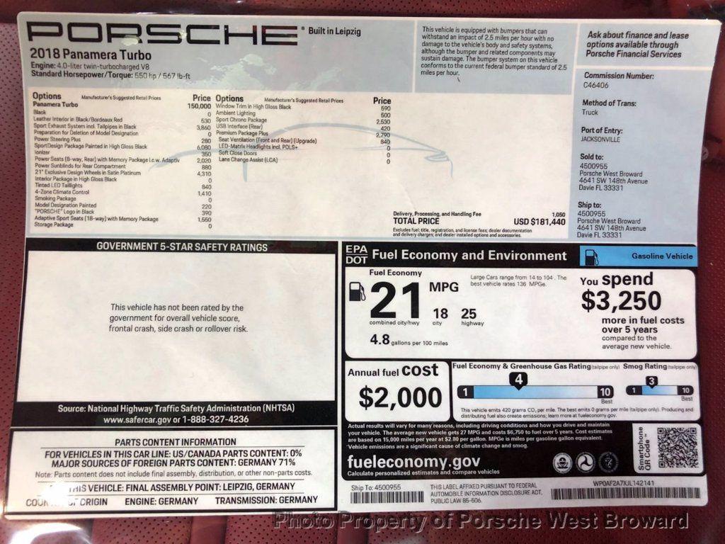 2018 Porsche Panamera Turbo AWD - 17954795 - 28