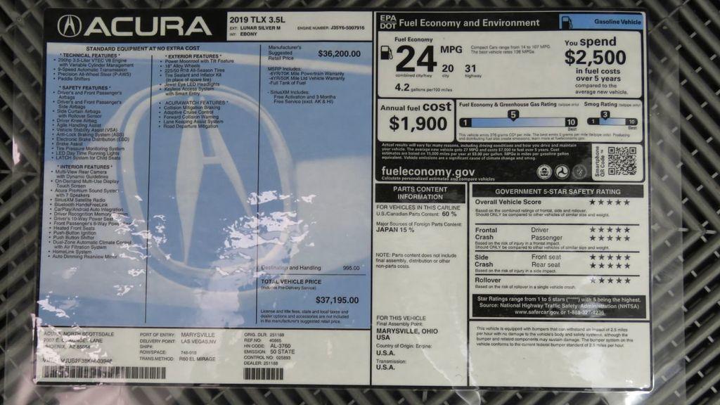 2019 Acura TLX FWD V6 - 18106404 - 9