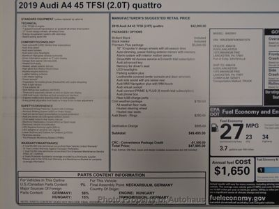 2019 Audi A4 2.0 TFSI Premium Plus S Tronic quattro AWD - Click to see full-size photo viewer