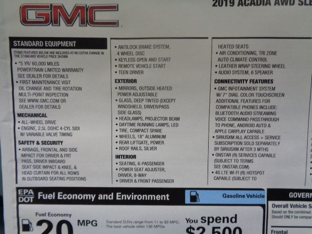 2019 GMC Acadia AWD 4dr SLE w/SLE-2 - 17947333 - 5