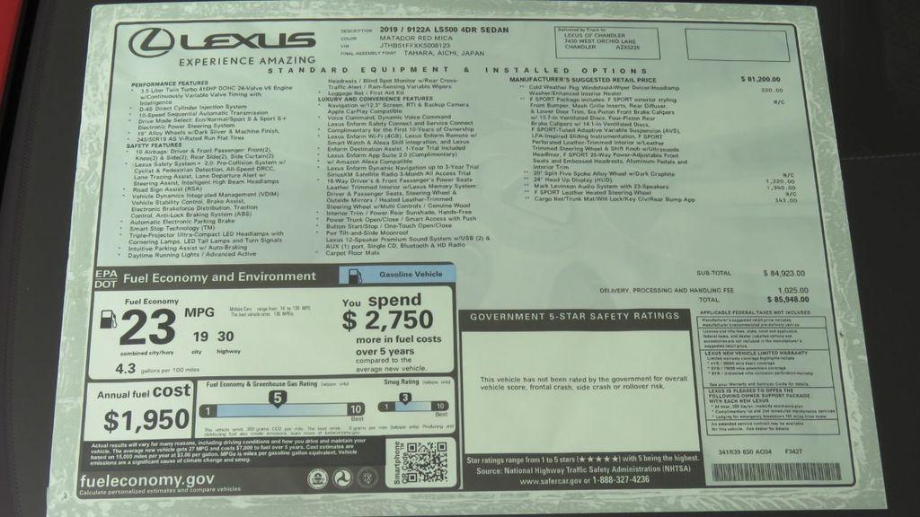 2019 Lexus LS LS 500 F SPORT RWD - 18440657 - 8