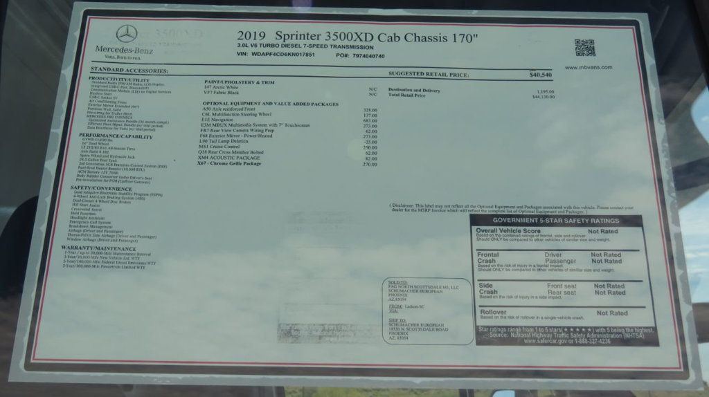 "2019 Mercedes-Benz Sprinter Cab Chassis 3500XD Standard Roof 170"" - 18711040 - 1"