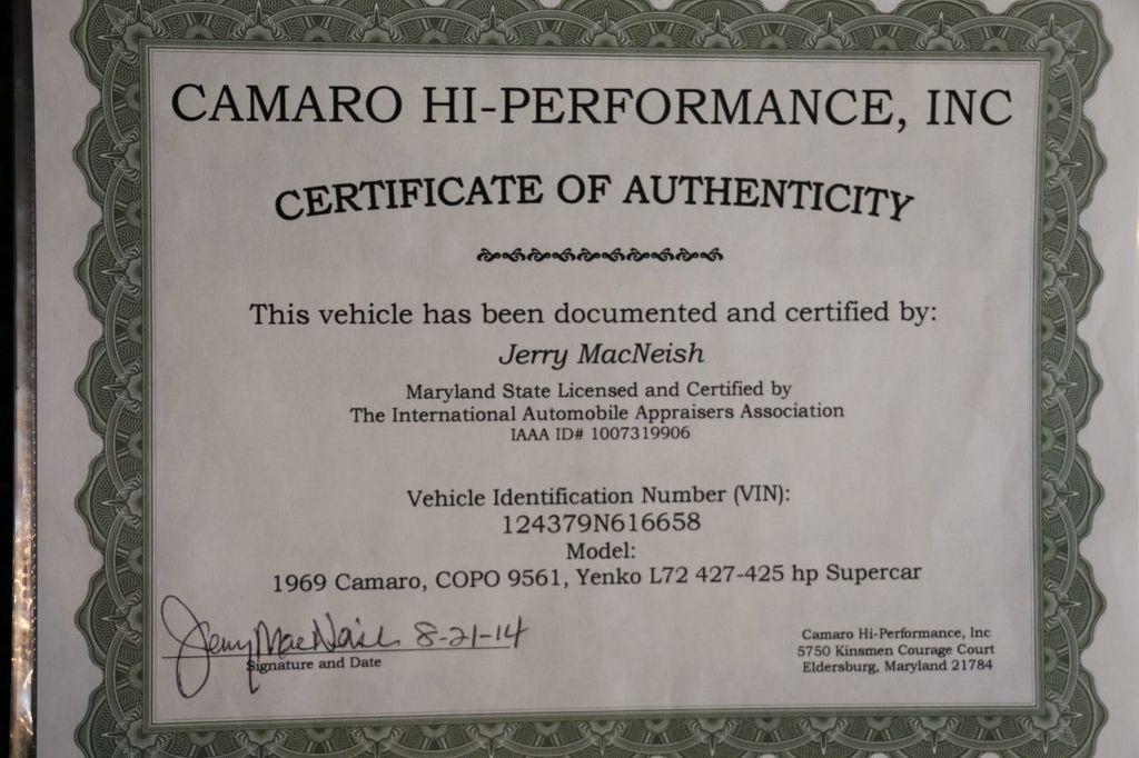 1969 Chevrolet Camaro Yenko COPO - 18515489 - 97
