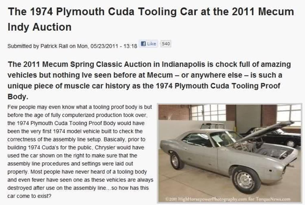 1974 Plymouth Cuda Tooling Proof - 13038764 - 63