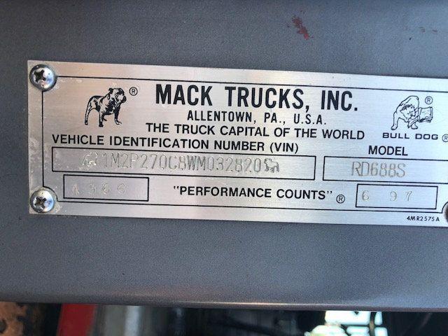 1998 Mack RD600  TAMDEM -AXLE 18 SPEED MAXITORQUE DUMP TRUCK - 17851006 - 17