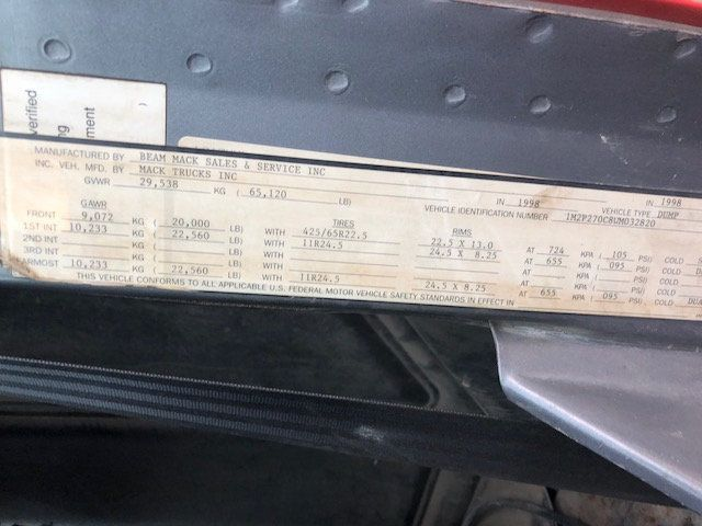 1998 Mack RD600  TAMDEM -AXLE 18 SPEED MAXITORQUE DUMP TRUCK - 17851006 - 18