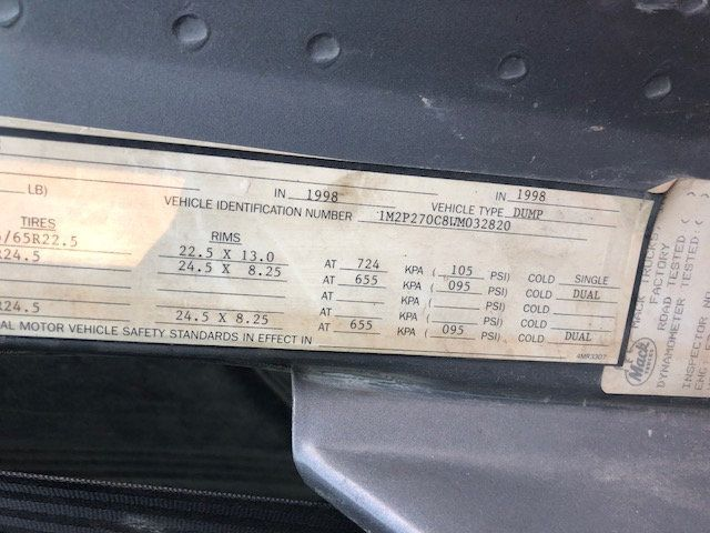 1998 Mack RD600  TAMDEM -AXLE 18 SPEED MAXITORQUE DUMP TRUCK - 17851006 - 20