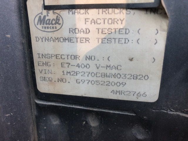 1998 Mack RD600  TAMDEM -AXLE 18 SPEED MAXITORQUE DUMP TRUCK - 17851006 - 21
