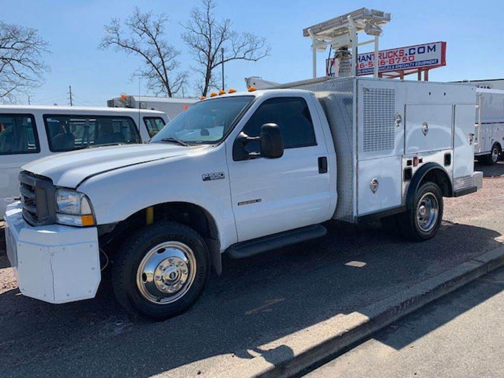 2002 Ford F550 Utility Truck with Telescopic Mast & Gen Set 4x4  Telescopic Boom with Flood Lighting & Generator - 18414795 - 1
