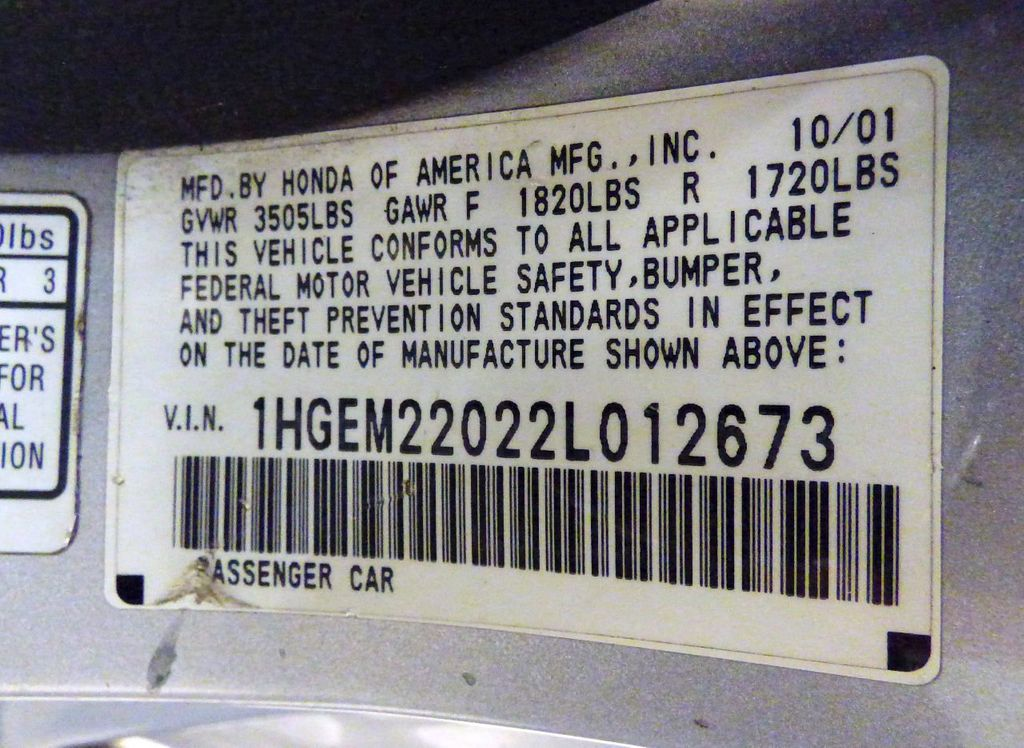 2002 Honda Civic 2dr Coupe EX Automatic w/Side Airbags Coupe - 1HGEM22022L012673 - 34