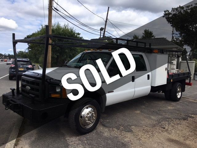 2005 Ford F 550 Crewcab Flatbed Toolbox Front Mounted Winch 4x4 6 Sd Manual Pto