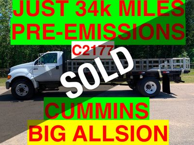 2007 Ford F750 LONG FLATBED JUST 34k MILES ONE OWNER PRE-EMISSION CUMMINS!! BIG ALLISON AUTO