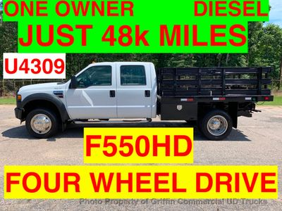 2008 Ford F550 CREW CAB 4X4 RACK STAKE TRUCK JUST 48k MILES ONE OWNER! DIESEL AUTOMATIC