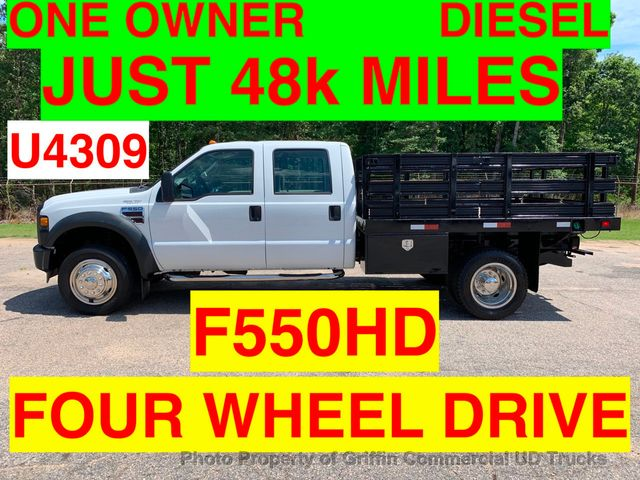 2008 Ford F550HD CREW CAB 4X4 RACK STAKE TRUCK JUST 48k MI ONE OWNER! DIESEL AUTOMATIC