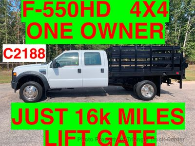 2008 Ford F-550 CREW 4X4 JUST 16k MILES STAKE LIFT GATE ONE OWNER!! CAN ADD HITCH WITH THIS STYLE GATE! Truck