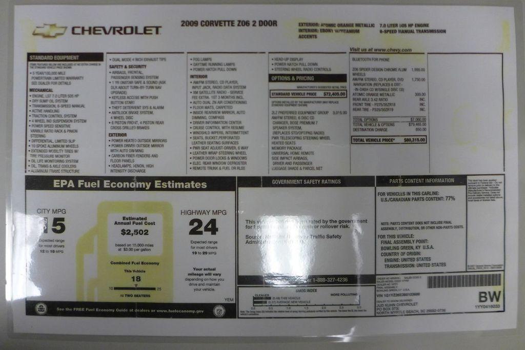 2009 Chevrolet Corvette Z06 - 18319594 - 98