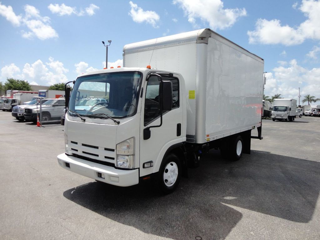 2012 Isuzu NPR 14FT DRY BOX CARGO BOX TRUCK WITH PULL OUT RAMP - 17964349 - 0