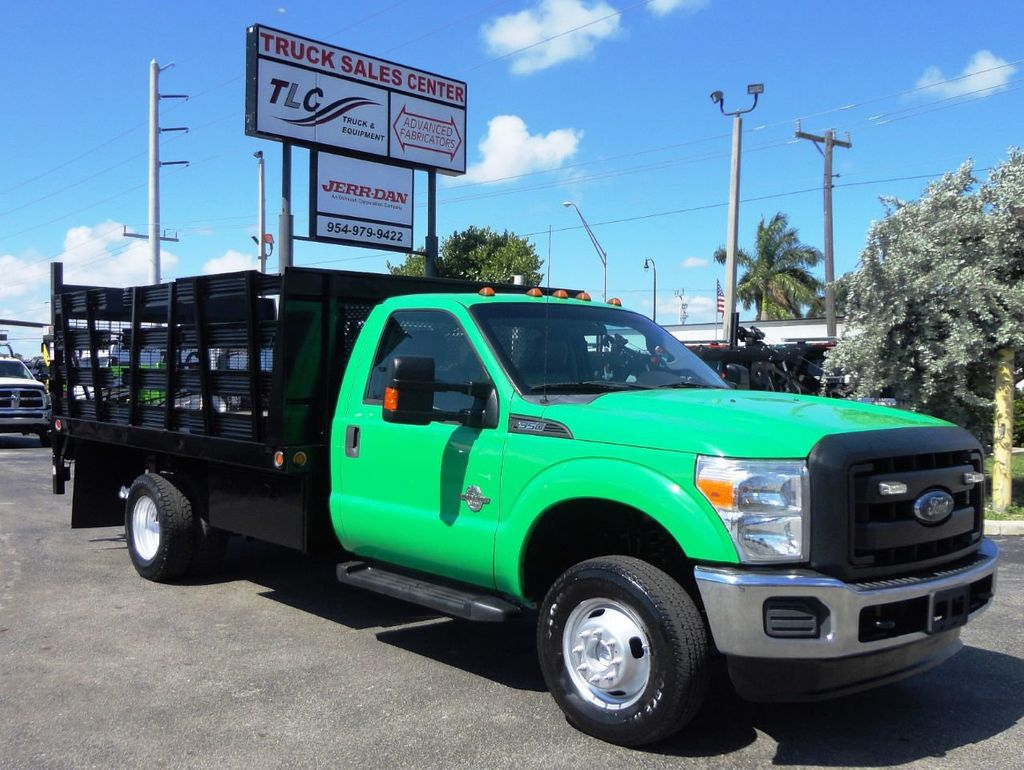 2013 Ford F350 4X4.12FT FLATBED STAKE BED WITH LIFTGATE..STAKE TRUCK. - 18965309 - 0