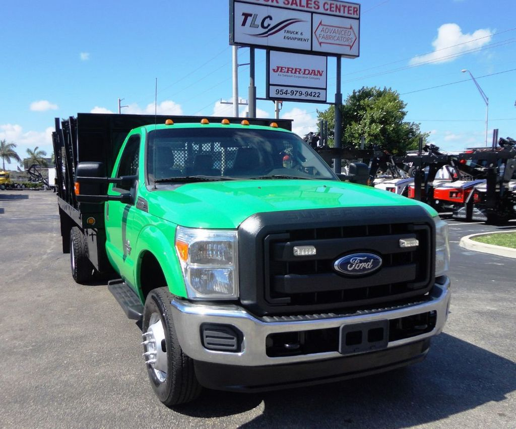 2013 Ford F350 4X4.12FT FLATBED STAKE BED WITH LIFTGATE..STAKE TRUCK. - 18965309 - 1