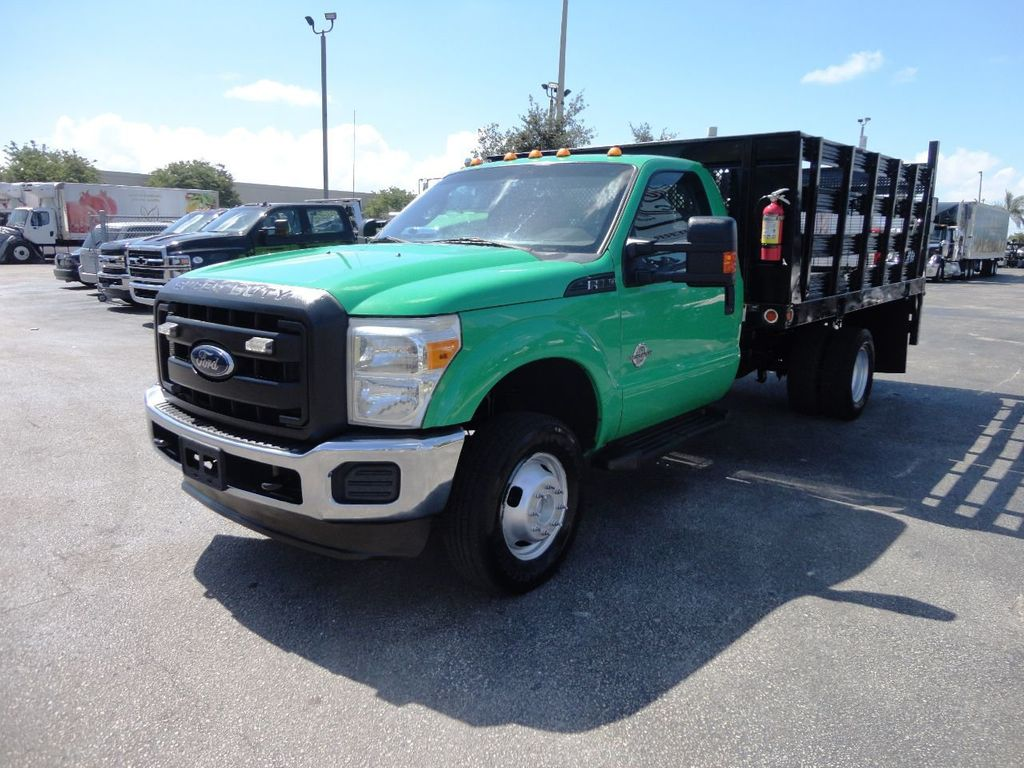 2013 Ford F350 4X4.12FT FLATBED STAKE BED WITH LIFTGATE..STAKE TRUCK. - 18965309 - 3