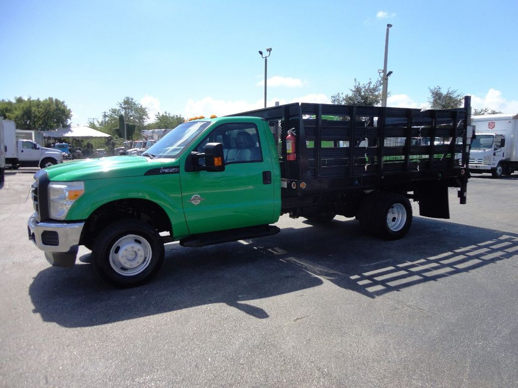 2013 Ford F350 4X4.12FT FLATBED STAKE BED WITH LIFTGATE..STAKE TRUCK. - 18965309 - 4