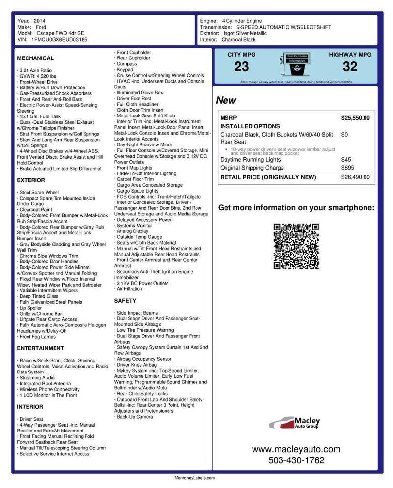 2014 Ford Escape FWD 4dr SE - 18356786 - 11