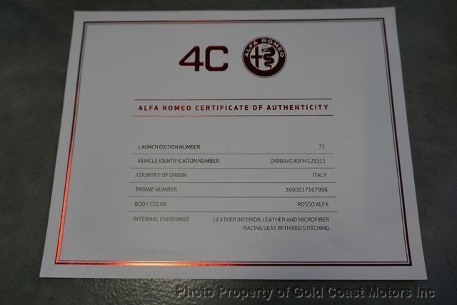 2015 Alfa Romeo 4C 2dr Coupe Launch Edition - 19592554 - 48