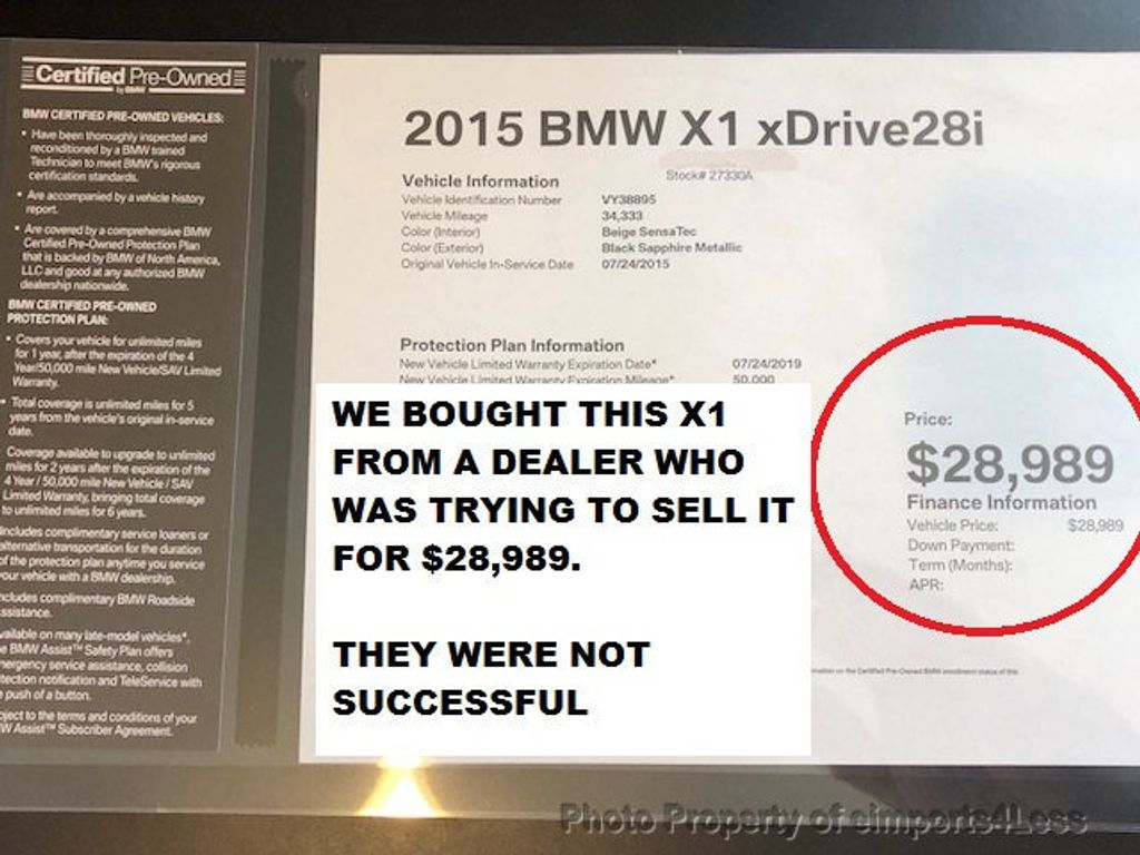 2015 BMW X1 CERTIFIED X1 xDRIVE28i AWD TECH PACKAGE NAVI - 17587439 - 25