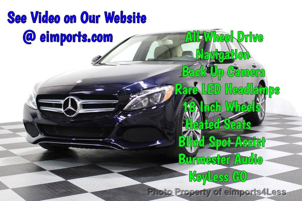 2015 Mercedes-Benz C-Class CERTIFIED C300 4Matic AWD Blind Spot LED PANO CAM NAVI - 17490665 - 0
