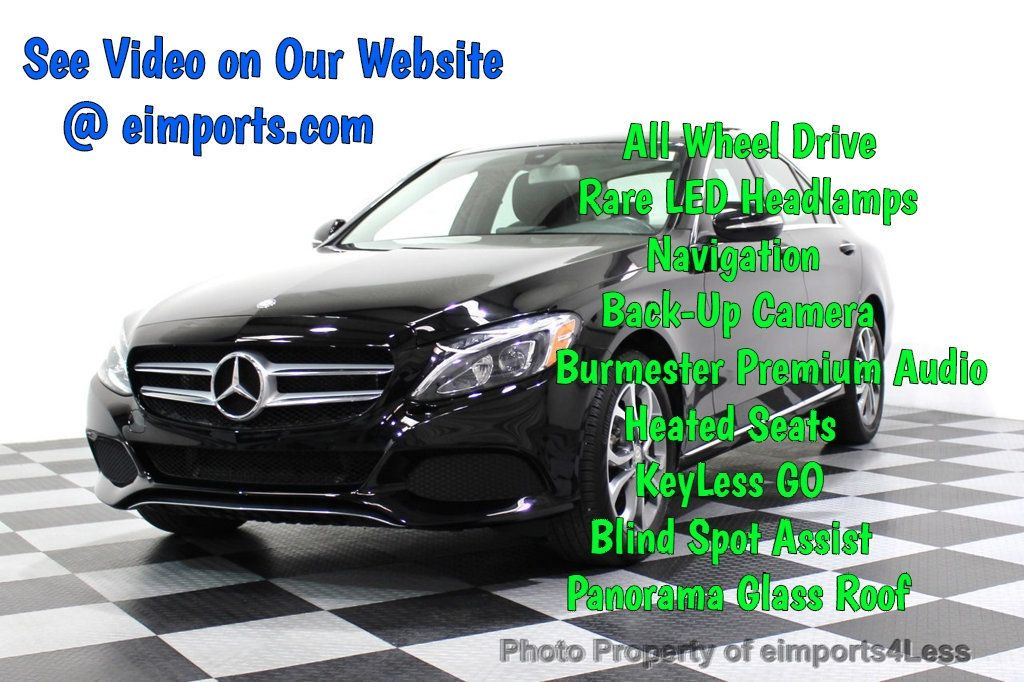 2015 Mercedes-Benz C-Class CERTIFIED C300 4Matic AWD Blind Spot PANO LED NAVI - 17537735 - 0