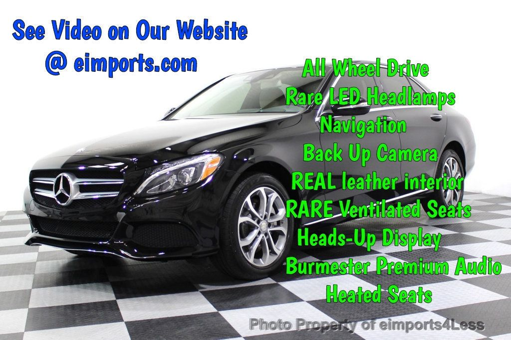 2015 Mercedes-Benz C-Class CERTIFIED C300 4Matic AWD Cooled Seats HUD CAMERA NAVI - 17526336 - 0