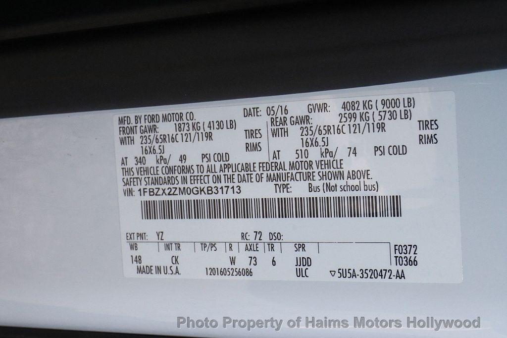 "2016 Ford Transit Wagon T-350 148"" Low Roof XLT Swing-Out RH Dr - 16192215 - 25"