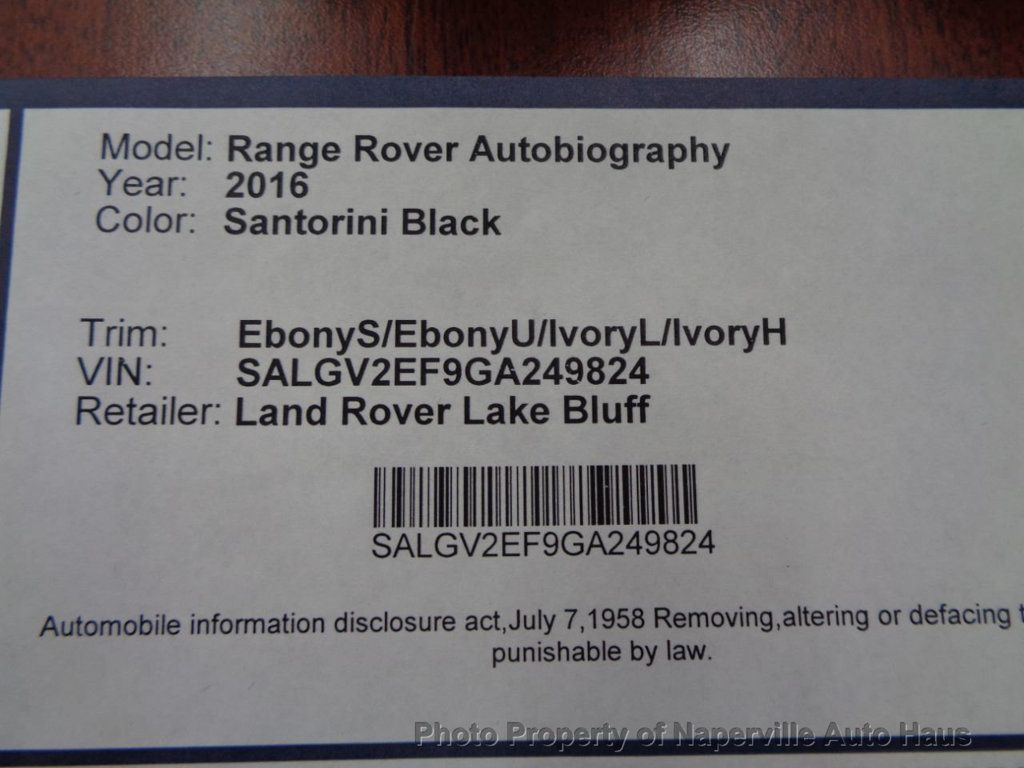2016 Land Rover Range Rover 4WD 4dr Autobiography - 17996369 - 73