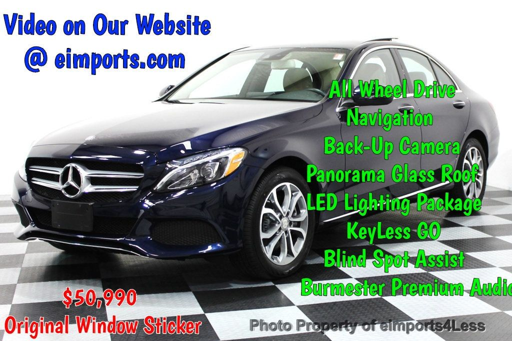 2016 Mercedes Benz C Cl Certified C300 4matic Awd Pano Camera Navi