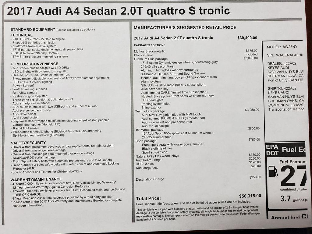 2017 Audi A4 2.0 TFSI Automatic Premium Plus quattro AWD - 18308056 - 41