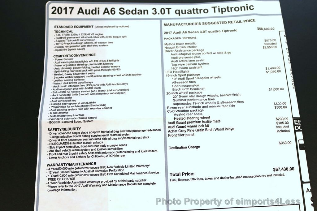 2017 Audi A6 CERTIFIED A6 3.0t QUATTRO S-Line Sport AWD Driver Assist - 17028259 - 18