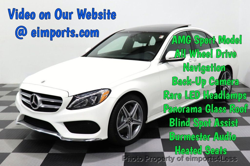 2018 Mercedes-Benz C-Class CERTIFIED C300 4MATIC AMG Sport Package LED BURMESTER PANO - 18346387 - 0