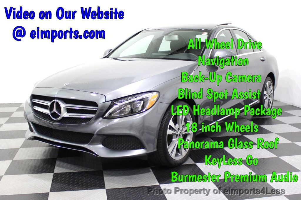 2018 Mercedes-Benz C-Class CERTIFIED C300 4MATIC AWD LED BLIS PANO NAV CAM - 18302575 - 0